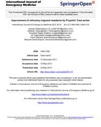 International Journal of Emergency Medic... by Stead, Latha, Ganti