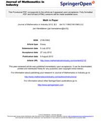 Journal of Mathematics in Industry : Aug... by Fitt, Alistair