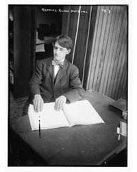 Blind Man Reading Magazine, Photograph N... by Library of Congress