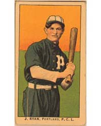 J. Ryan, Portland Team, Baseball Card Po... by American Tobacco Company