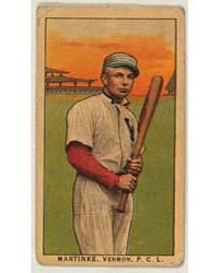 Martinke, Vernon Team, Baseball Card Por... by American Tobacco Company