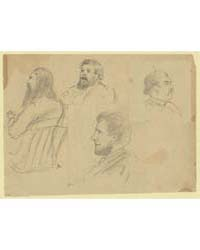 Bust Portraits of Four Men Including Col... by Waud, Alfred R.