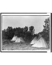 An Assiniboin Camp Containing Four Tepee... by Curtis, Edward S.