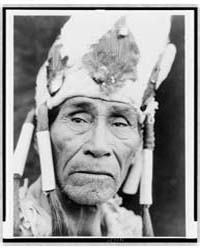 A Klamath Head-dress by Curtis, Edward S.