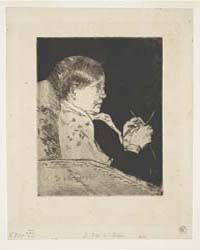 Mrs. Cassatt Knitting, Profile View, Pho... by Cassatt, Mary