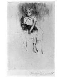 Ellen Holding a Cat, Looking Left, Photo... by Cassatt, Mary