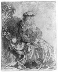 Abraham Caressing Isaac, Photographs 3B3... by Rembrandt Harmenszoon Van Rijn