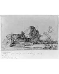 Cottage Farm Building, Man Sketching, Ph... by Rembrandt Harmenszoon Van Rijn