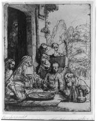 Abraham Entertaining the Three Angels, P... by Rembrandt Harmenszoon Van Rijn