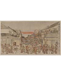 Ukie Sakaichō Fukiyachō Kaomise Yorushib... by Utagawa, Toyoharu