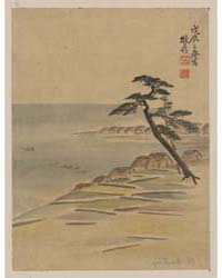 Coastal View with Village and Pine Trees... by Library of Congress