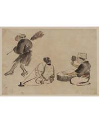 Man with a Broom, Wearing Geta; Woman wi... by Library of Congress