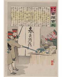 A Russian Soldier Protests as Two Japane... by Kobayashi, Kiyochika