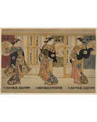 Beauties of the Three Capitals Triptych,... by Torii, Kiyomasu