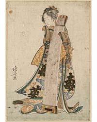 Koto O Idaku Musume, Photograph 02312V by Katsushika, Hokusai