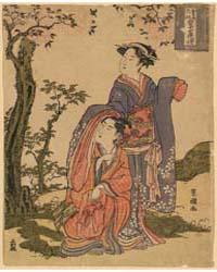Osome Hisamatsu Chikai No Jūshichiya Mac... by Utagawa, Toyokuni