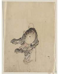 Rear View of a Traveler or Monk Wearing ... by Katsushika, Hokusai