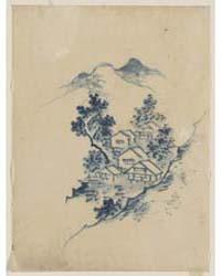 Buildings Nestled Among Trees in a Mount... by Katsushika, Hokusai