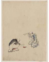 Two Men Playing a Game or Gambling, Poss... by Katsushika, Hokusai