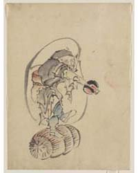 Hotei, the God of Good Fortune, One of t... by Katsushika, Hokusai