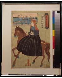 Bushū Yokohama Meishō Zu, Amerika Bijo, ... by Utagawa, Yoshitora