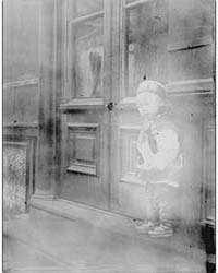 Small Boy Standing in Front of a Door, C... by Genthe, Arnold