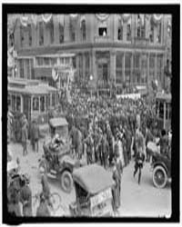 Crowd and Trolley Cars at Corner of Penn... by Harris & Ewing