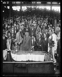 Herbert Hoover with Baseball in Stands, ... by Harris & Ewing