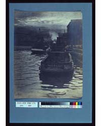 Rear View of Tugboats Approaching a Whar... by Johnston, Frances Benjamin