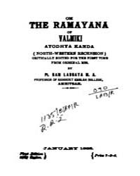 Om the Ramayana of Valmiki Ayodhya Kanda... by Labhaya, Ram