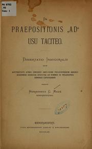 De Praepositionis Ad Usu Taciteo. Disser... by Maué, Herman C