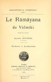 Le Râmâyana De Vâlmâki, Vol. Vol. 1 Volume Vol. vol. 1 by Valmiki