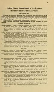Monthly List of Publications /United Sta... Volume Vol. 1934:Oct. by United States. Dept. of Agriculture. Division of P...