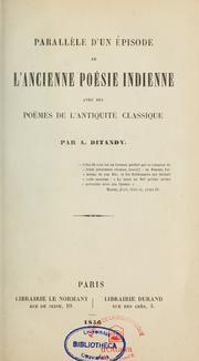Parallèle D'Un Épisode De L'Ancienne Poé... by Ditandy, Auguste, B 1826