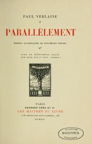 Parallèlement by Verlaine, Paul, 1844-1896