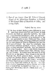 Part of Two Letters from Mr Edward Lhwyd... Volume Vol. 24 by Lhwyd, E.