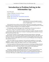 Introduction to Problem Solving in the I... by Moursund, David