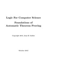 Logic for Computer Science Foundations o... by Gallier, Jean H.