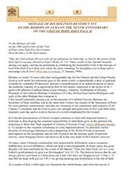Message to the Bishops of Cuba on the 10... by Papal Encyclicals