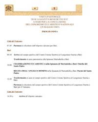 Pastoral Visit to Bari Program by Papal Encyclicals