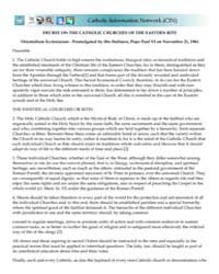 Decree on the Catholic Churches of the E... by Papal Encyclicals