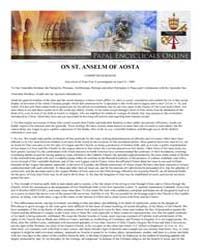 On St. Anselm of Aosta Communium Rerum E... by Papal Encyclicals