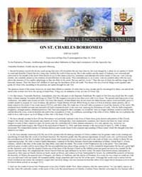On St. Charles Borromeo Editae Saepe Enc... by Papal Encyclicals