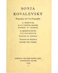 Sonia Kovalevsky : Biography and Autobio... by Leffler, Anne Charlotte