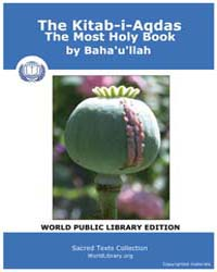 The Kitab-i-aqdas, the Most Holy Book by Baha'U'Llah