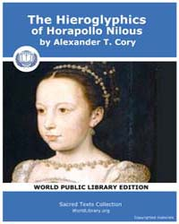 The Hieroglyphics of Horapollo Nilous by T. Cory, Alexander