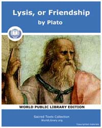 Lysis, or Friendship, Score Plato Lysis by Plato