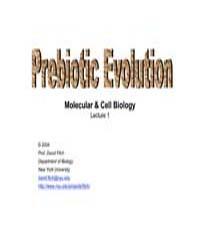 Prebiotic Evolution Molecular & Cell Bio... by F. Wiser, Mark