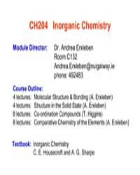 Lecture Notes on Inorganic Chemistry by Dr. Erxleben, Andrea