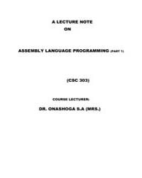 A Lecture Note on Assembly Language Prog... by S.A, Dr.Onashoga